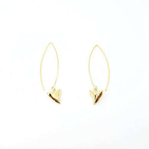 Shark Tooth Long Drop Earrings Gold