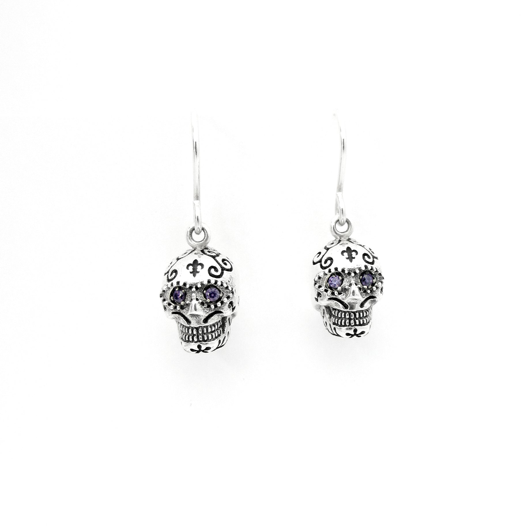Semi Precious Sugar Skull Dangle Earrings
