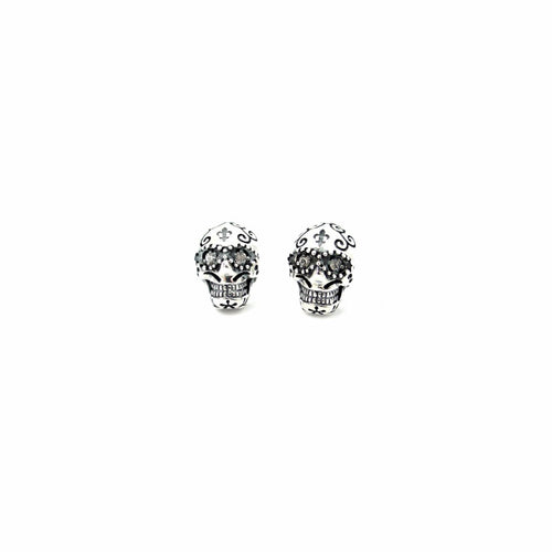 Semi Precious Sugar Skull Stud Earrings