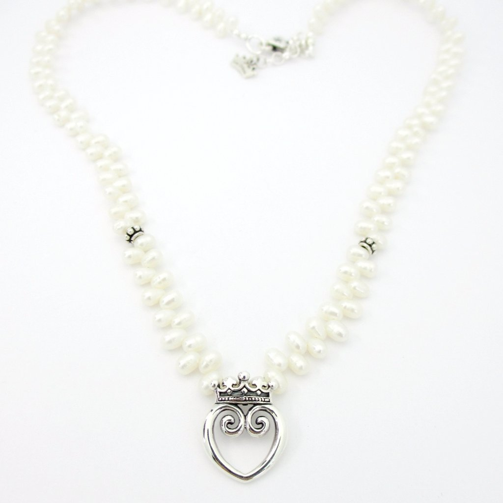 Small Queen of Hearts on White Pearls