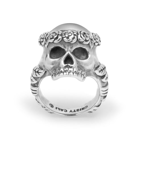 Smell The Roses Skull Ring