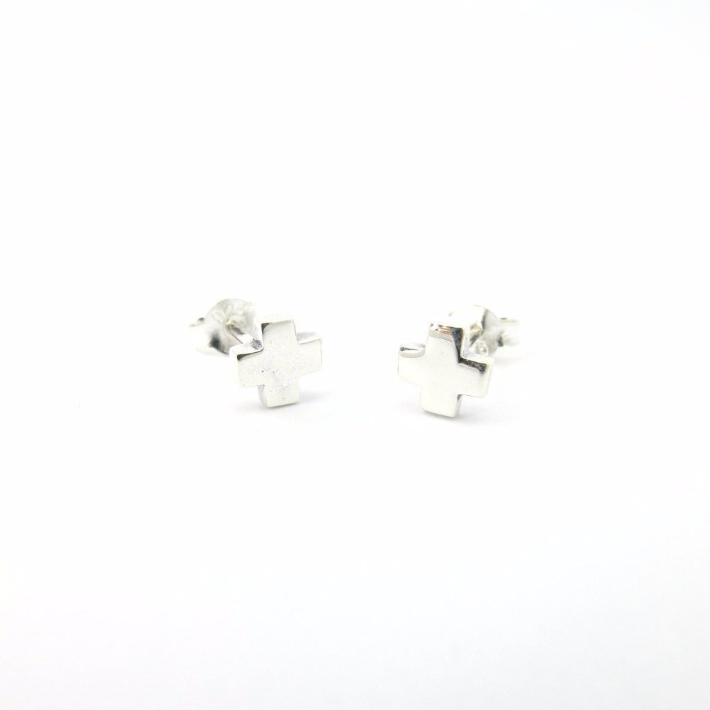 Tiny Square Cross Studs