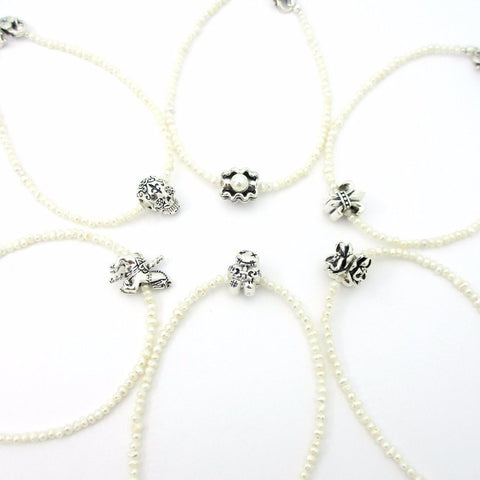 Wedding Cake Pull set of 6 on White Beaded Bracelets