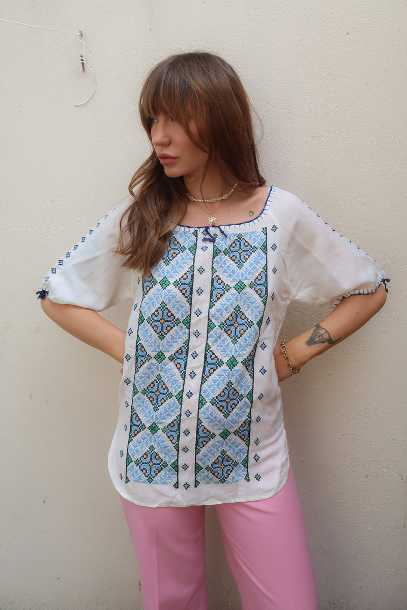 1970's Blue Embroidered Tunic
