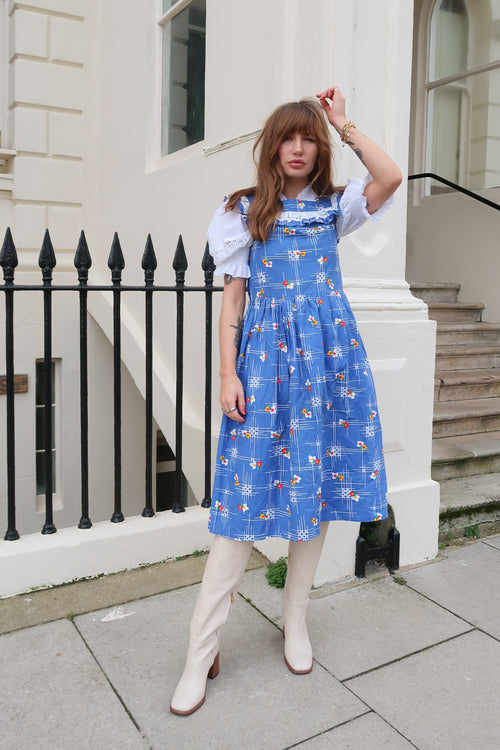 1970's Blue Pinafore Dress