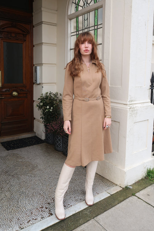 1970's Camel Wool Midi Dress