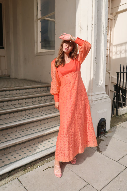 1970's Orange Lace Maxi Dress
