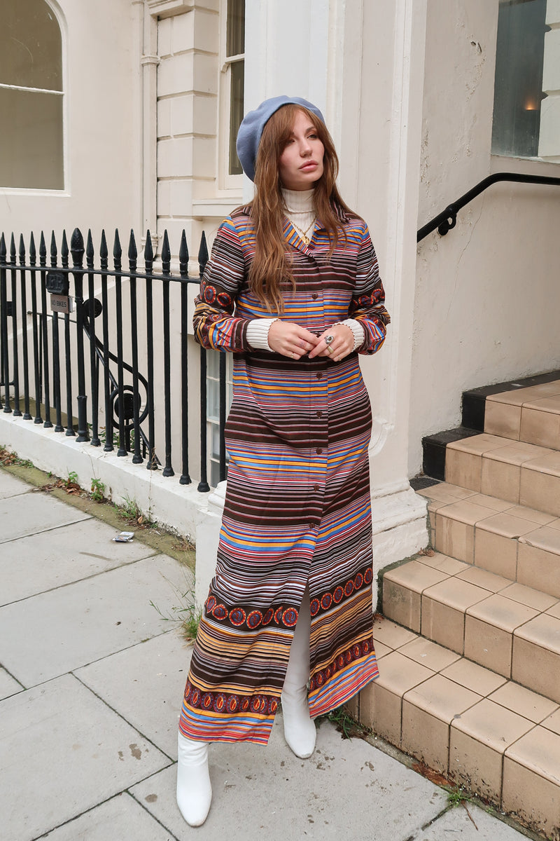 1970's Stripe Maxi Shirt Dress