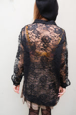 1990's Black Oversized Lace Shirt