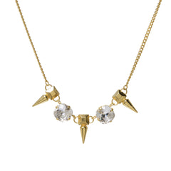 PYRAMID SPIKE CRYSTAL NECKLACE