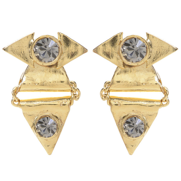 CRYSTAL REFLECTION TRIANGLE EARRING