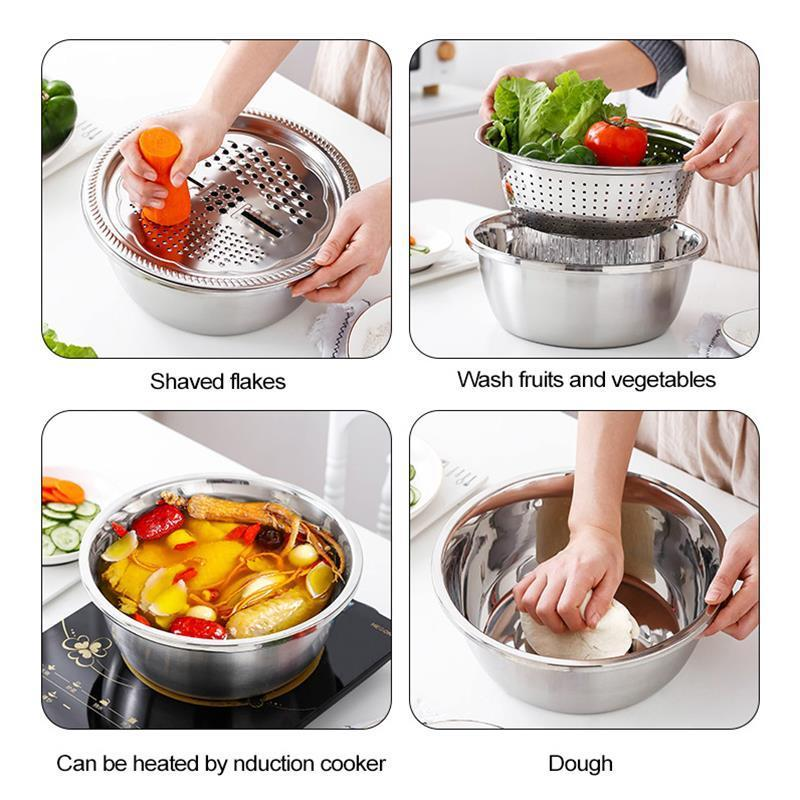 Multifunctional 3 In 1 Stainless Steel Basin ( Plus FREE Gifts)