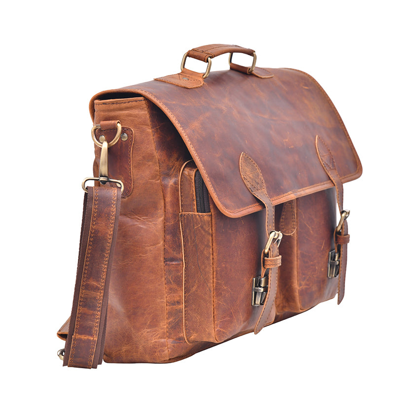 Tan Brown Genuine Buffalo Leather Briefcase