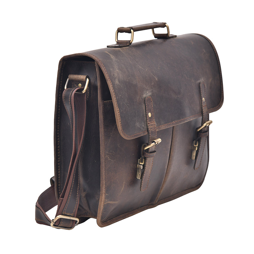 Exquisite Genuine Dark Leather Laptop Briefcase