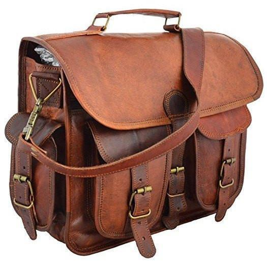 Genuine Handmade Vintage Light Brown Leather Bag - Lexther