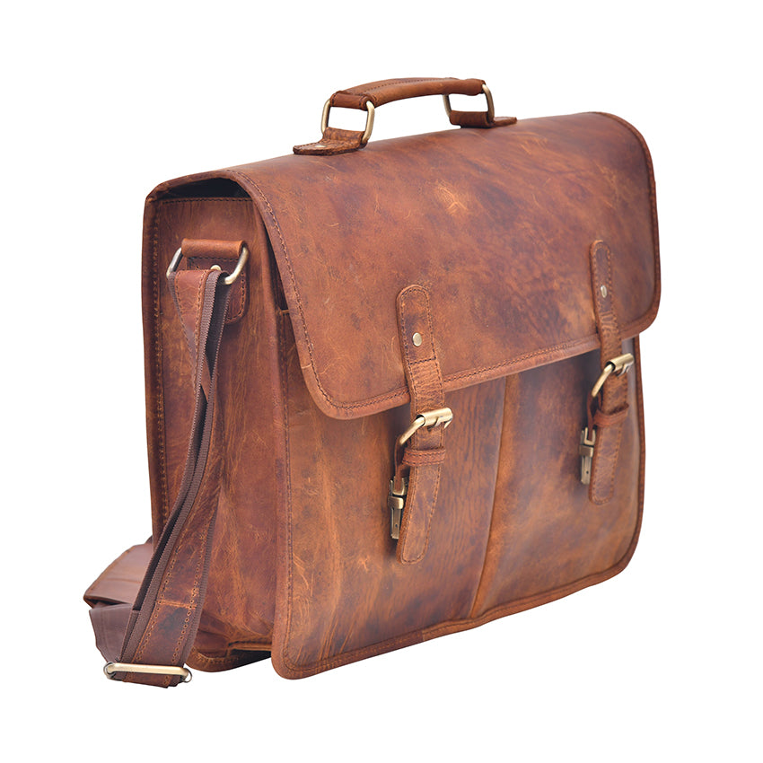 Exquisite Genuine Tan Leather Laptop Briefcase