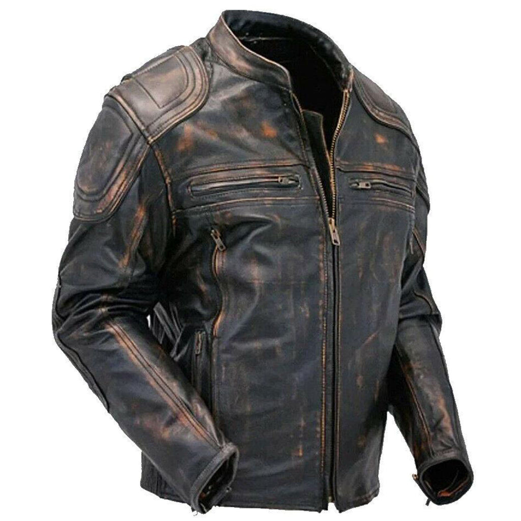 Genuine Leather Biker Style Buff Vintage Jacket