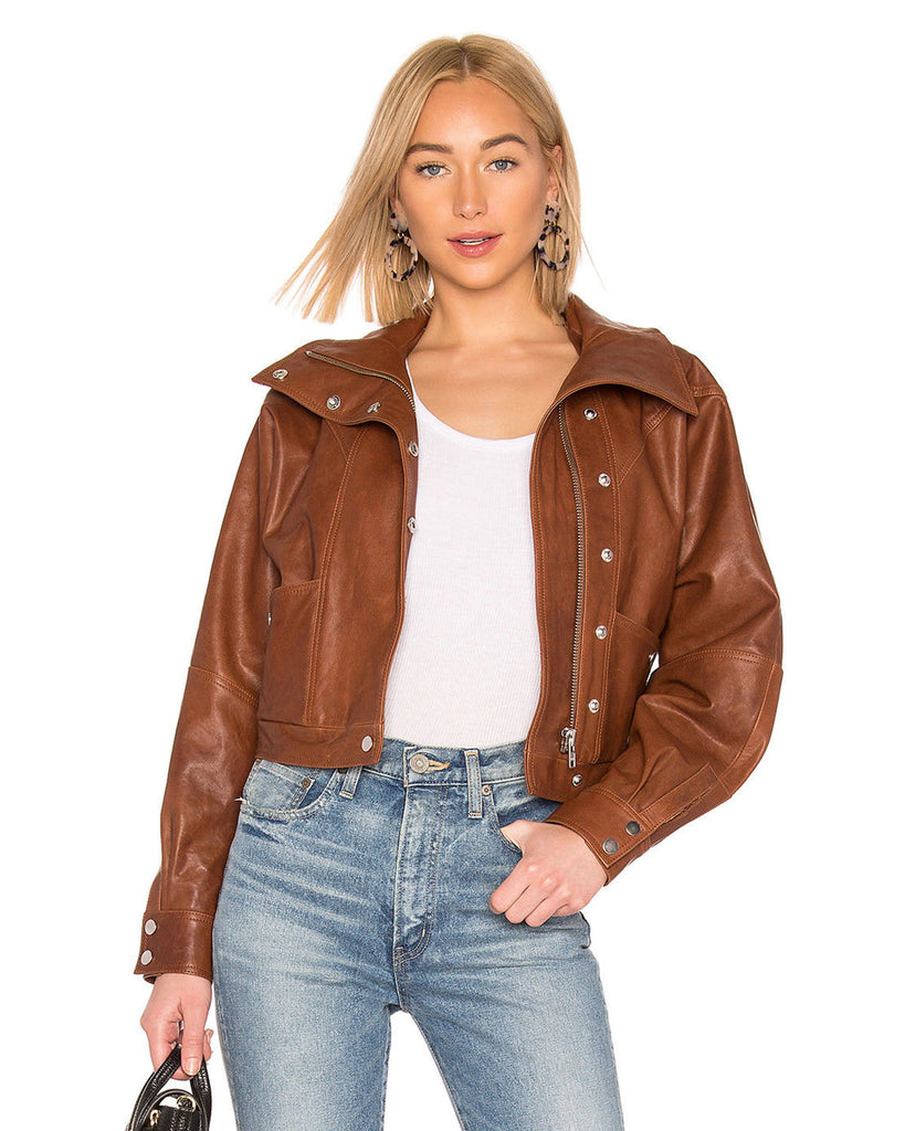 Brown Leather Bomber Style Jacket - Lexther