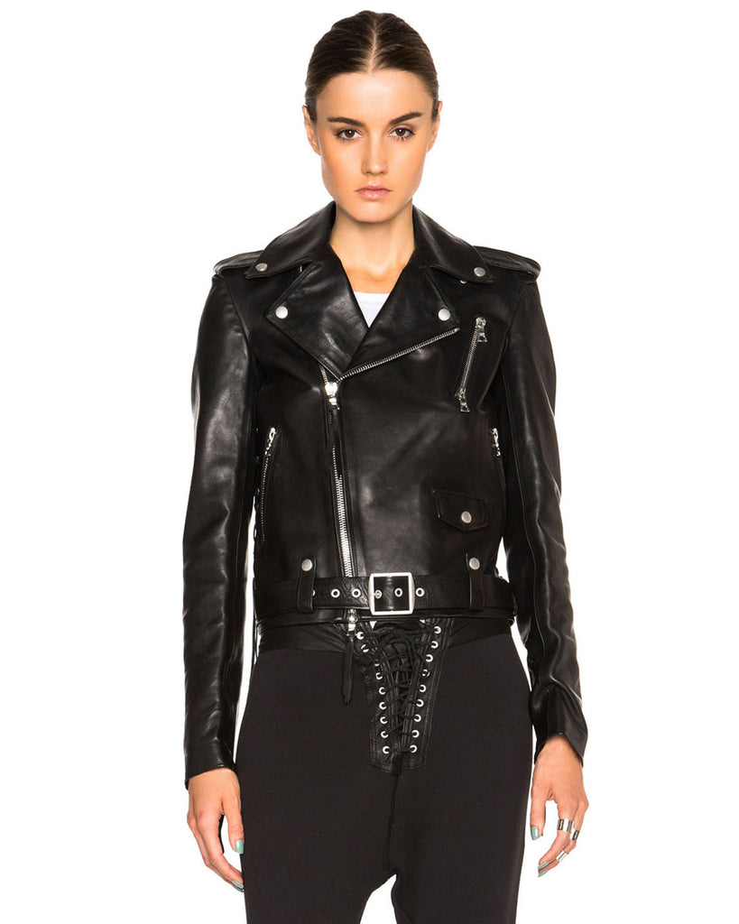 Classic Belted Genuine Leather Jacket - Lexther
