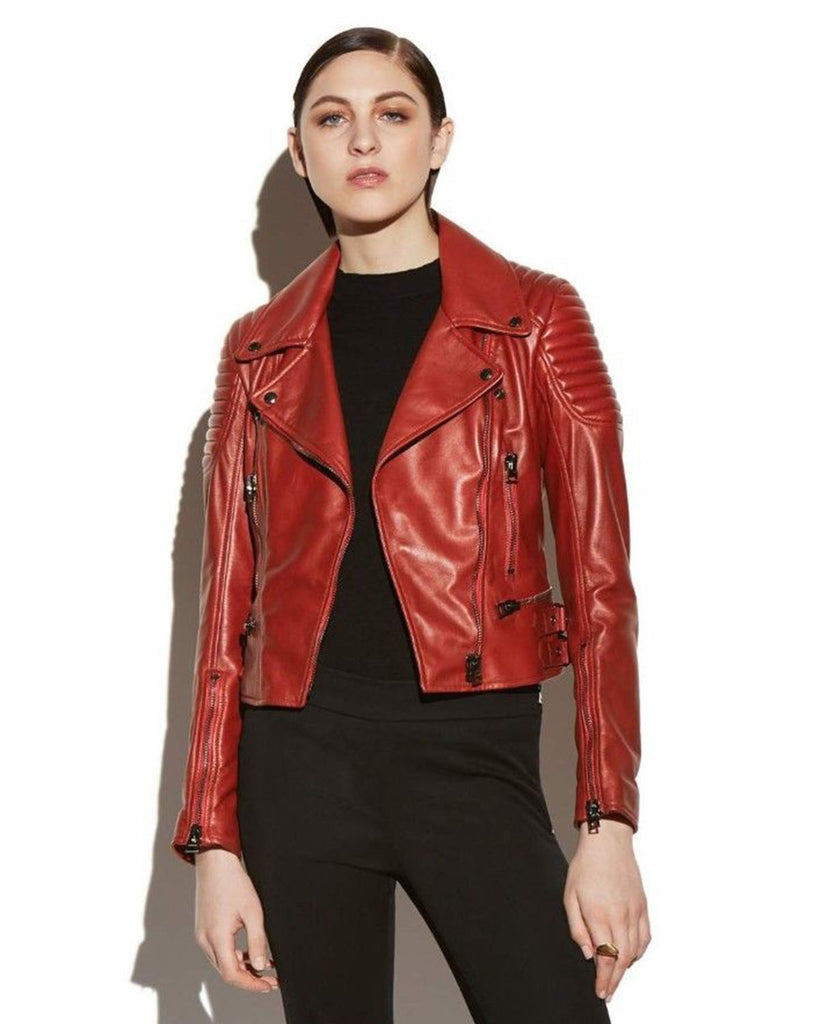 Classic Red Leather Jacket - Lexther