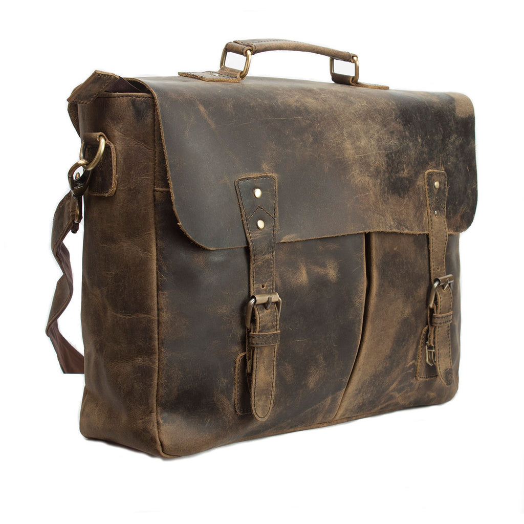 Flapped Genuine Leather Bag For The Professionals