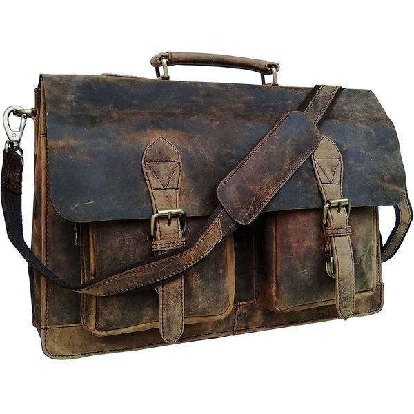 Genuine Buffalo Leather Distressed Vintage Bag - Lexther