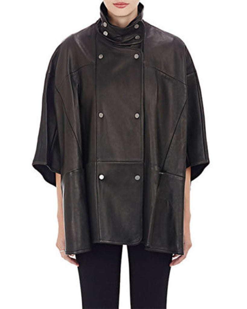Genuine Leather Black Cape Jacket - Lexther