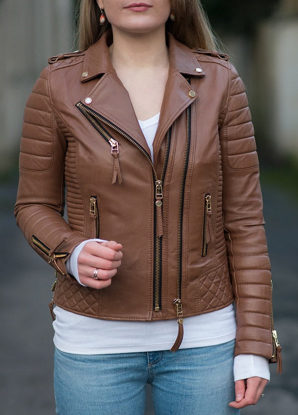 Tan Genuine Leather Jacket - Lexther
