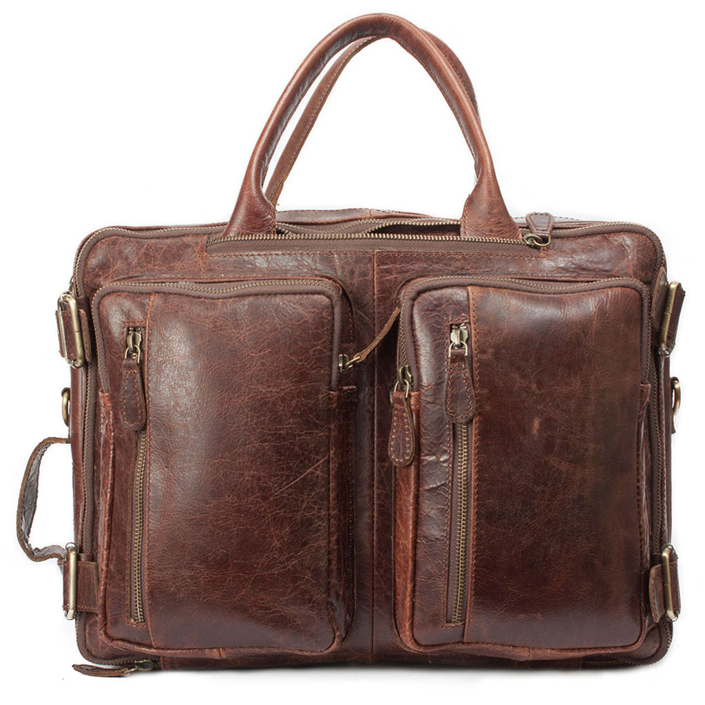 Multi-function Dark Brown Genuine Handmade Briefcase Bag