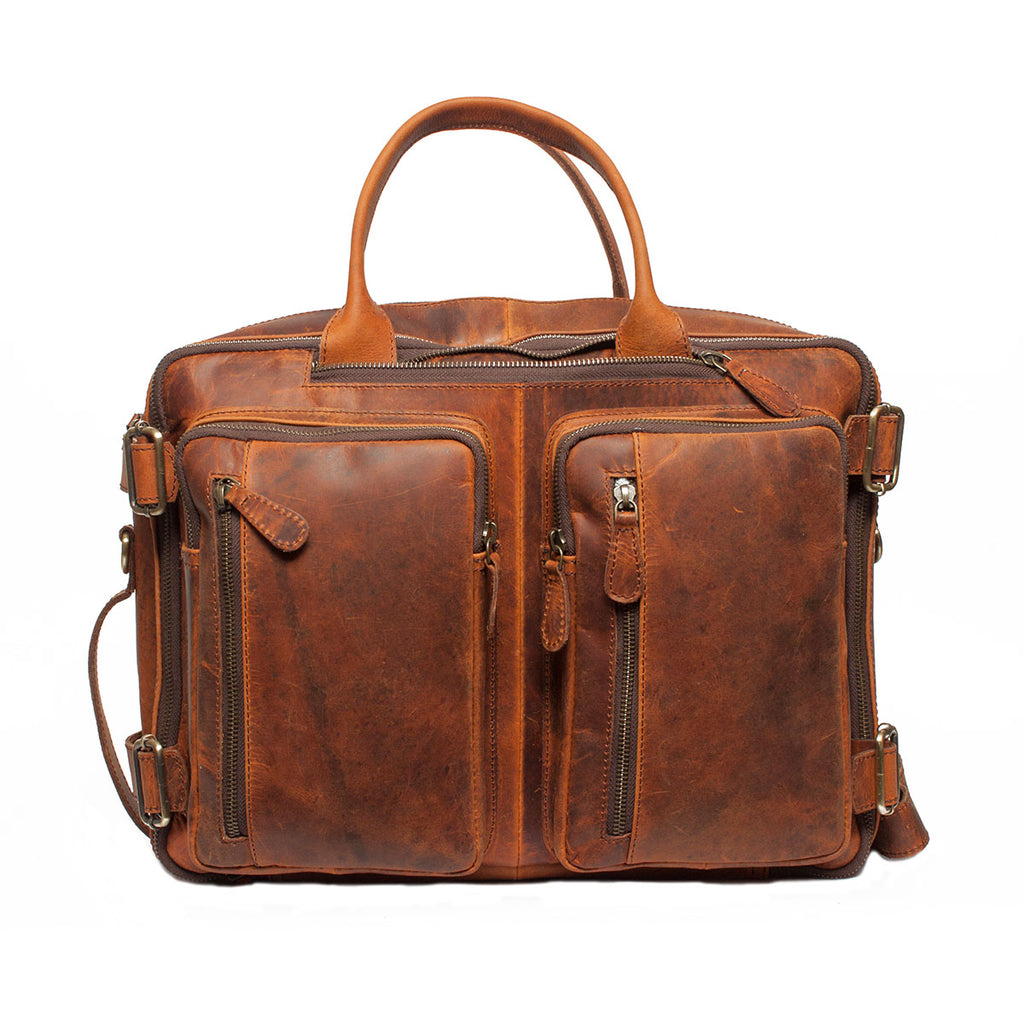 Multi-function Tan Brown Genuine Handmade Briefcase Bag