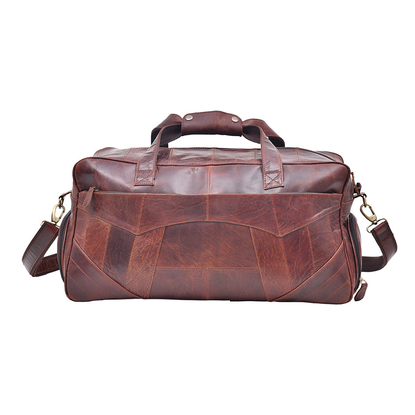 Maroon Shade Genuine Leather Patch Work Duffel Bag