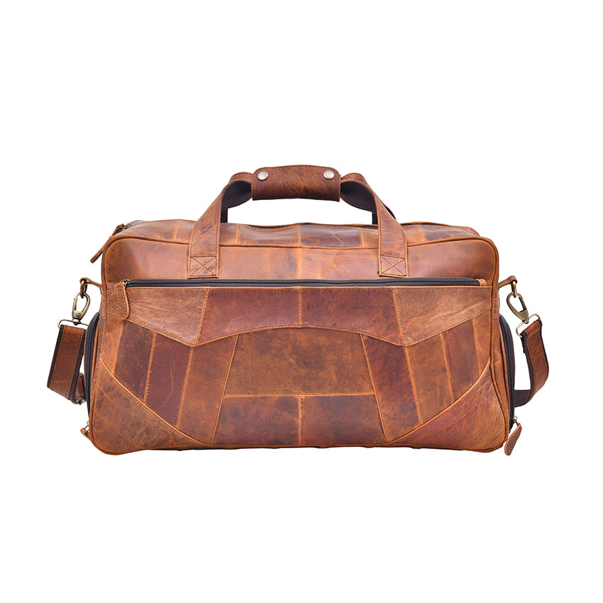 Genuine Leather Brown Shade Patch Work Duffel Bag