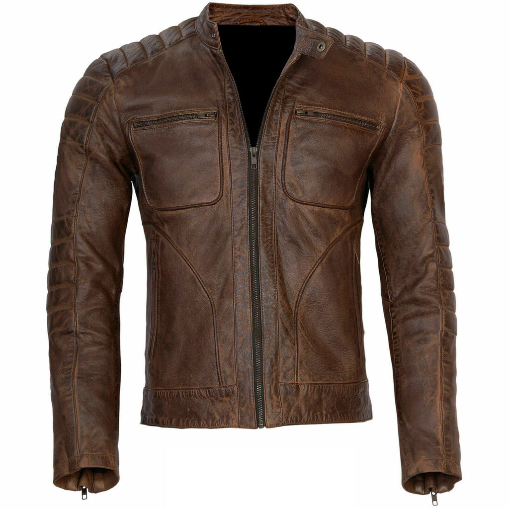 Slim Fit Handmade Brown Distressed Leather Jacket