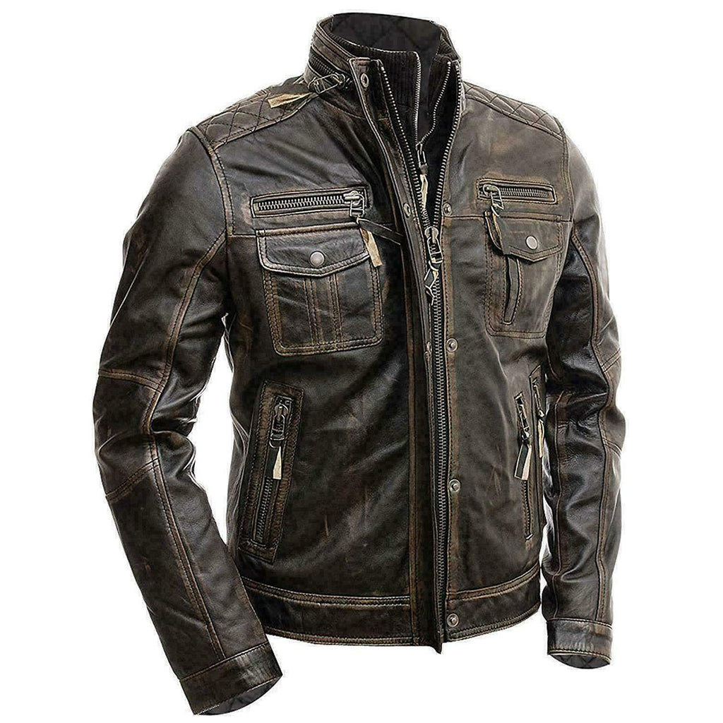 Brown Distressed Leather Jacket With Double Zipper