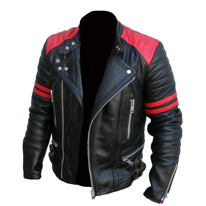 Genuine Leather Brando Jacket in Black Color With Red Theme