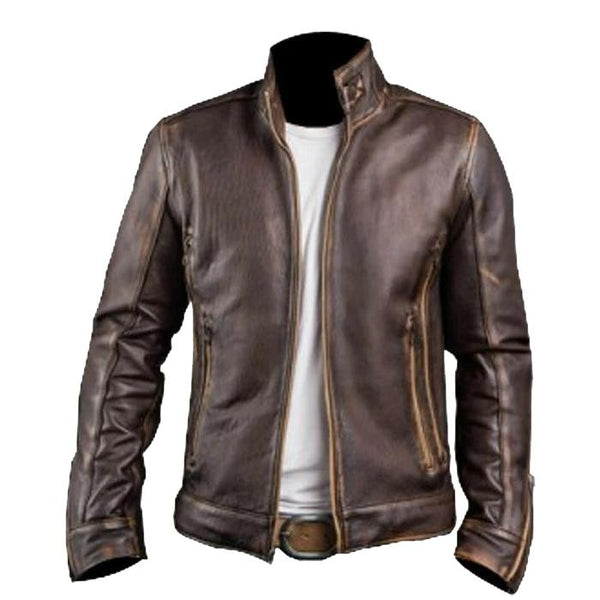 Vintage Racer Brown Genuine Handmade Leather Jacket