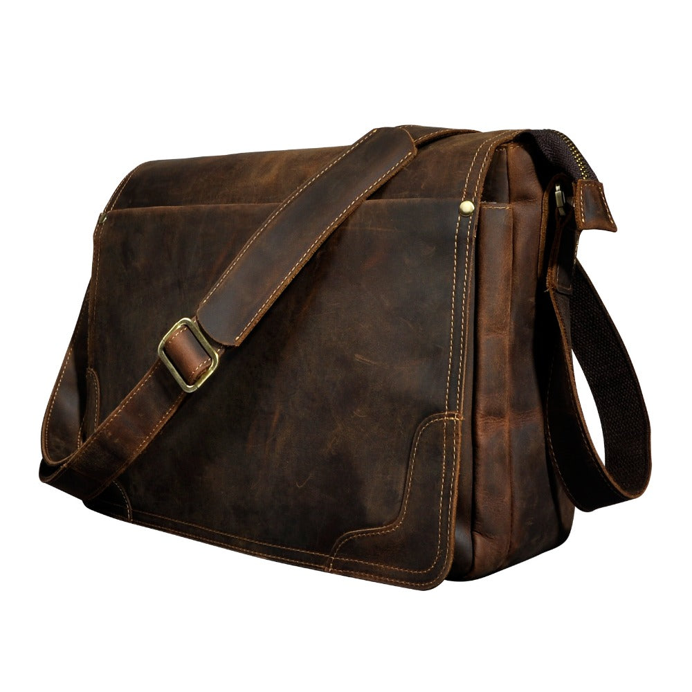 Crazy Horse Leather Laptop Leather Crossbody Messenger Bag - Lexther