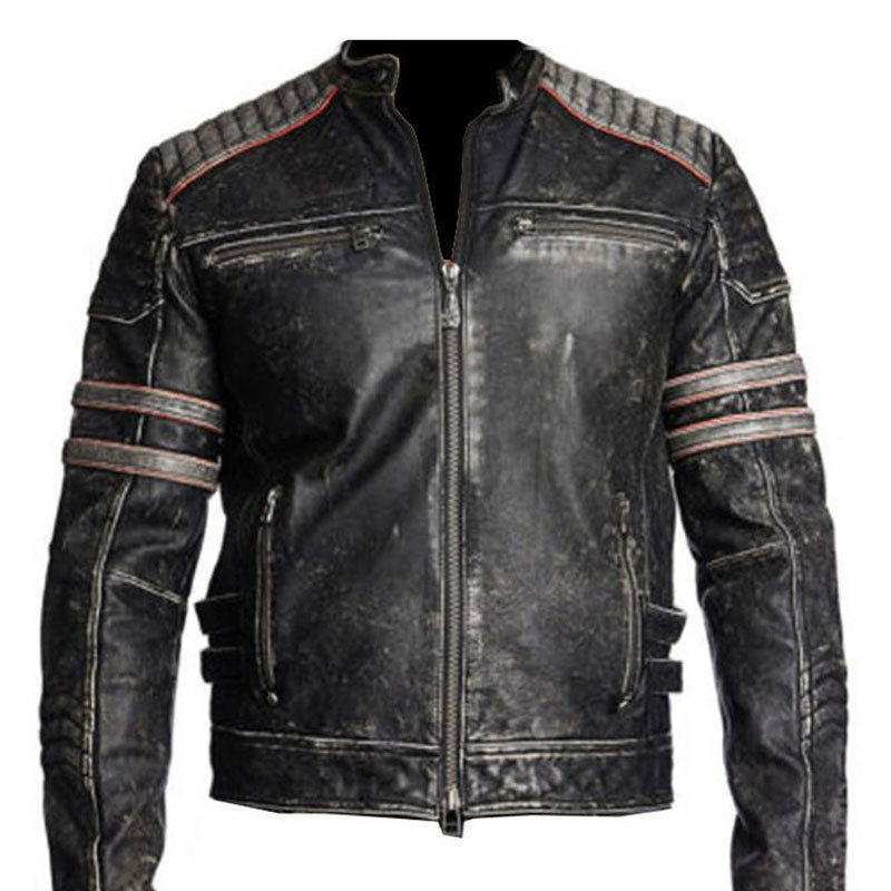 Genuine Leather Handmade Dark Mayhem Distress Leather Jacket