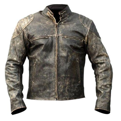 Genuine Leather Distressed Black Handmade Biker Jacket