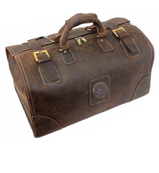 Genuine Vintage Handmade Leather Hard Duffel Bag - Lexther