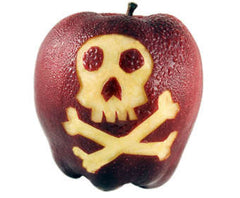 Apple with skull and crossbones