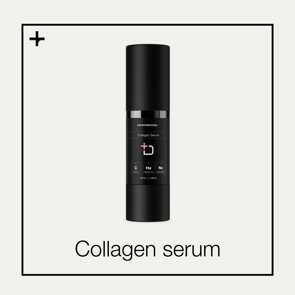 Dermexcel Collagen serum. Anti-aging serum. Cosmeceutical. Vitamin C. Tetrahexyldecyl ascorbate. Hyaluronic acid. Niacinamide.