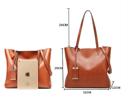 Waxing Leather Double Strap Shoulder Woman Bags