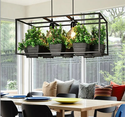 Wrought Iron Suspended Planter Lamp