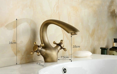 Antique Brass Double Handle Faucet