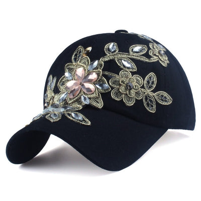 Flower Canvas Snapback Baseball Cap
