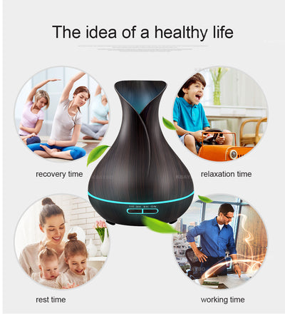 400 ml Wood Grain Vase Style Aroma Essential Oil Diffuser