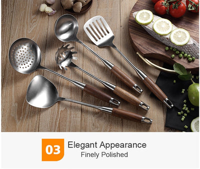 Wood Handle Stainless Steel Cooking Tools Premium Set