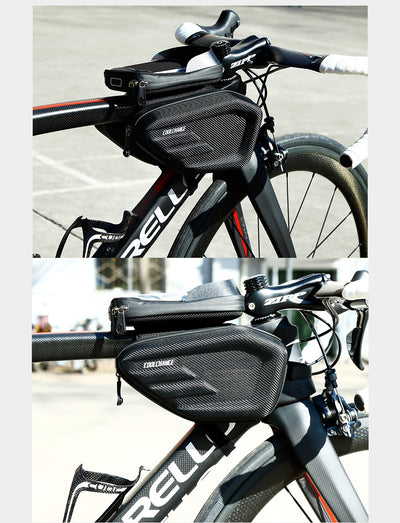 Double Waterproof Panniers Front Frame Touch Screen Bicycle bags