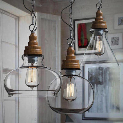 Clear Glass Vintage Antique Decor Hanging Light